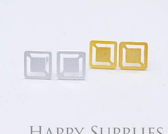 Nickel Free - High Quality Square Dual-used Golden / Silver Brass Earring Post Finding with Ear Stud Stopper (ZEN149)