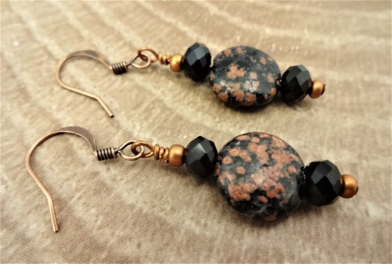 Mexican Snowflake Obsidian and Black Onyx Earrings, Brown and Black Earrings, Stone Earrings, Round Earrings, Black Earrings