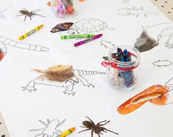 Reptile Party Coloring Page Table Runner