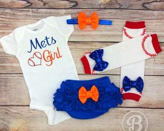 Mets Girl Game Day Outfit, New York Mets Baseball Baby Girl Clothes, Mets Baby Bodysuit, NY Mets Baby Outfit