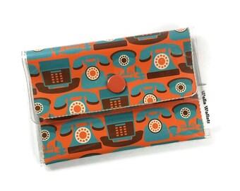 Breast cancer wallethandmadevinyl walletcard walletcash vintage retro rotary phone cashcard vinyl wallet walla wallat orange teal colourmoves Image collections