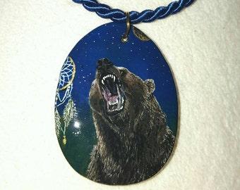 Miniature painting, bear pendant handpainted wood