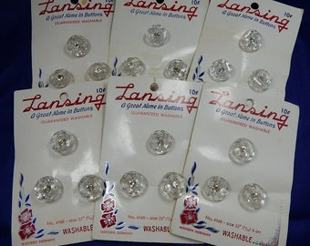 6 Cards (18) LANSING Clear Glass Button Lot w/ Rhinestone Centers   PAW19