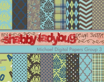 """Michael Digital Paper Collection Group 3: 16 Individual 12x12"""" 300 dpi digital scrapbook papers"""