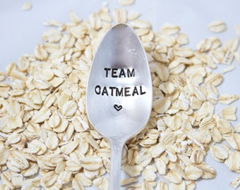 Team Oatmeal - Hand Stamped Spoon - As seen on National Oatmeal Day from Jamba Juice - National Oatmeal Day Spoon and Venus Williams Twitter
