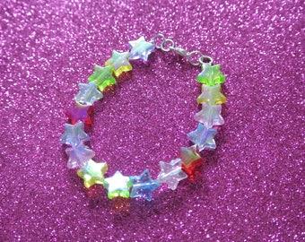 Rainbow Multicolour Kawaii Cute Fairy Kei Holographic Iridescent Shiny Star Beaded Bracelet