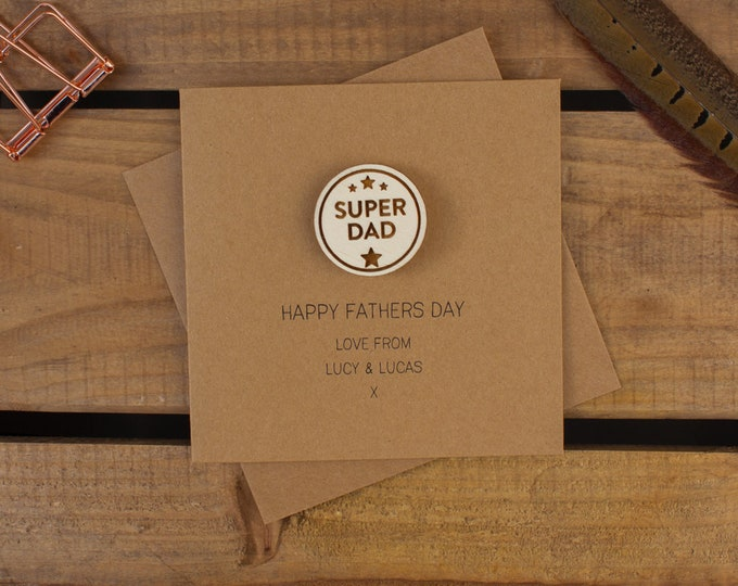 Featured listing image: SUPER DAD Personalised Card with Badge or Magnet