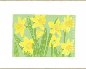 Daffodils, Daffodils print, Daffodils linocut print, Spring Narcissus Limited Edition Linocut Print