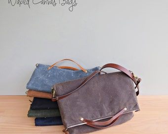 Waxed Canvas Foldover Purse with Custom Leather Strap in Seal Brown, Dark Brown Wax Canvas Convertible Tote, Shoulder Bag with Leather, Bag