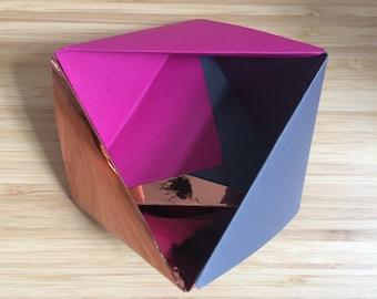 Paper Bowl Ornament || Copper Pink Small