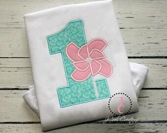 Girls Birthday Shirt - 1st Birthday, Birthday Outfit, Pinwheel Birthday, Pink Pinwheel, Birthday Outfit, Birthday Dress, Spring Birthday