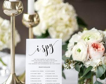 Printable Camera Game, Wedding Hashtag Sign,  I Spy Wedding Game, Wedding Reception Game, I Spy With My Little Camera, I Spy Game