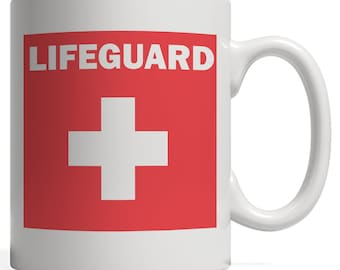 Lifeguard Red and White Swimming Pool Mug gift for lifeguard Swimmers or Beach Fun with Medical Lifesaver Cross - This Summer