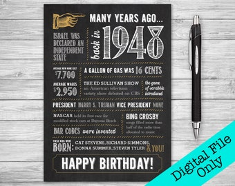 5x7 - 70th Birthday, Printable Folding Greeting Card, Many Years Ago Back in 1948, Instant Digital Download, DIY Print at Home, Chalk
