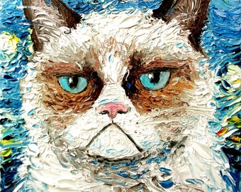 Vincent van NO - Cat meets Starry Night print of original oil painting 8x10 inches by Aja