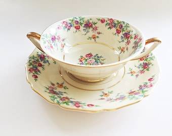 Cream Soup Bowls / Double Handle Bouillon Cups Pink Floral China German