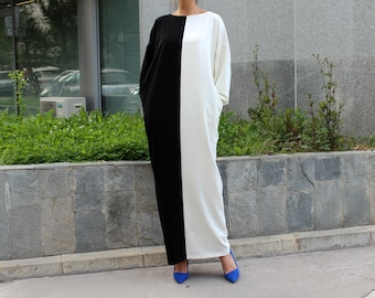 Black and White dress, Caftan dress, MAXI dress, Plus size dress, Abaya, Kaftan, Oversized dress, Long dress, Dress with pockets, 134.120