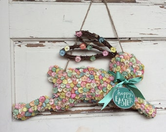 AGD Spring Decor - Happe Easter Running Flower Bunny Wall Hanging