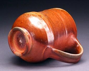 Wood Fired Brown and Orange Coffee or Tea Mug with Reddish Brown Shino Liner (M14)