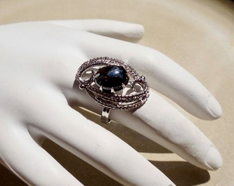 Vintage Sarah Coventry Silver Malachite stone Ring adjustable band