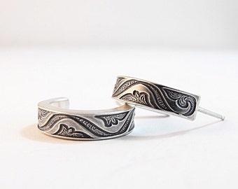 Earrings - Handmade Sterling Silver Patterned Hoops, Hoop Earrings, Silver Earrings, Small Sterling Silver Earrings