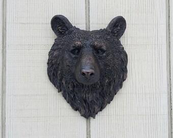 Bear Wall Decor / Bear Head Wall Hanging / Bear Wall Art / Black Bear / Faux Bear Head / Cabin Decor / Stag Head/ Bronze Wall Art / Copper
