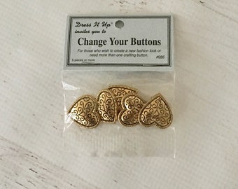 Dress It Up Change Your Buttons Gold Heart Button Embellishments, plastic w/ shank 5 pc, scrapbooking, card making, mixed media, mini albums