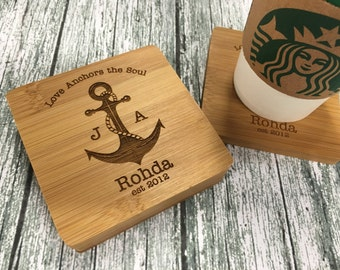 "Navy Wife, Navy Gift, Anchor Coasters, Anchor Wedding Gift, Navy Wedding Gift, Personalized Coasters, Couples Gift  - ""Engraved Set of 4"""