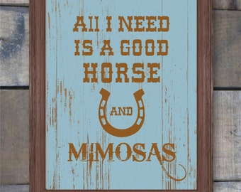 Western Decor, Western Art, Western Home Decor, Horse Decor, Mimosa, Cowboy