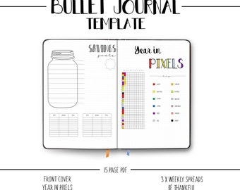 Bullet Journal Prinatbale Template - Starter Journal - BUJO - Dotted Grid