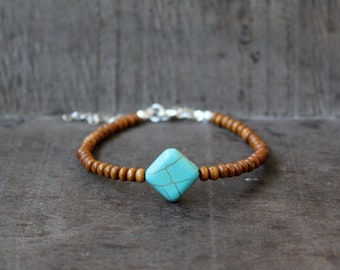 Turquoise Stone Bead Anklet with Brown Wooden Beads // Beach Jewelry // Summer // Festival // Surf Jewelry // Yoga Gift Present