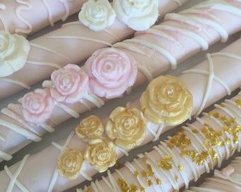 Pink/White and Gold Chocolate Pretzel Rods(1 DOZ)/Baby Shower Treats/Girl's Birthday/Bridal Shower/ Party Treats/Chocolate Pretzels/Sweet Si