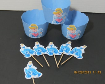 Cinderella Cupcake Toppers & Wrappers (Set of 12)