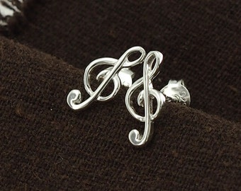 1 pair of 925 Sterling Silver Music Note Stud Earrings 5x12mm., Polish finish :er0918