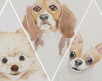 Custom Dog Portrait Watercolor Portrait Painting Dog Portrait Custom Pet Watercolor Painting From Photo Pet Painting Watercolor Dog Painting