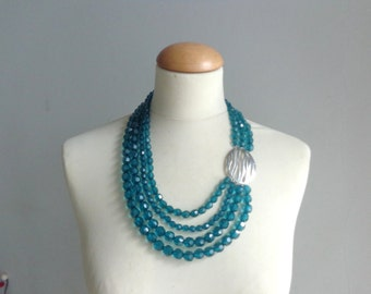 Blue Statement necklace longer style multistrand necklace