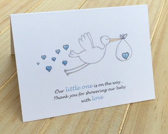 Baby Boy Shower Thank You Card Sets,  Thank You Cards for Baby Shower, Boy Shower Thank You Cards,  Hand finished Stork Thank You Cards