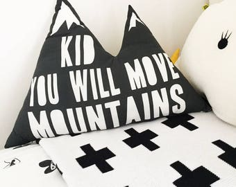 Nordic Decor Baby Pillow Mountain Pillow Gender neutral nursery decor Adventure nursery Kids Gift Decorative pillows Black and white Cushion