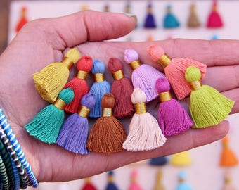 "Mini Cotton Jewelry Making Tassels, for Mala Tassel Necklace, Tassel Earrings, NEW SPRING Colors, GOLD Binding, 1.25"", You Choose 10+ Colors"