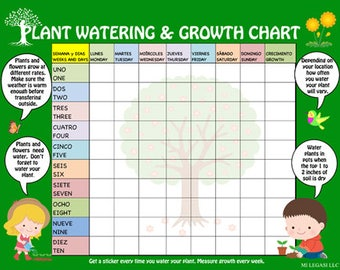 Bilingual Plant Watering & Growth Chart for Kids, Days of the Week in Spanish, Numbers in Spanish, Earth Day Printable, Spring Printable