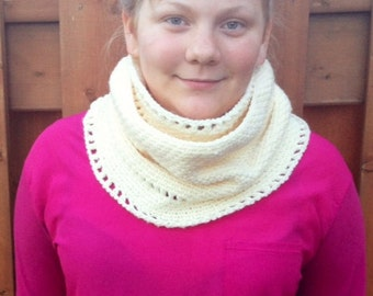Crocheted  Cozy Cowl in Ivory, RTS Photo Prop Hat Scarf Shawl Fall Winter