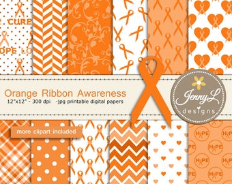 Orange Ribbon Cancer Awareness Digital Papers and Clipart, Lupus, Leukemia, Appendix Cancer, Kidney, Hunger