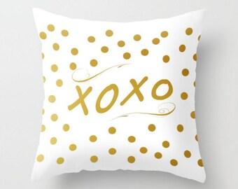 XOXO Pillow Cover Gold White Polka Dots Pillow Case Saying Phrase Quote Words Throw Pillow Cushion 16x16 18x18 20x20 26x26 Valentine Gift