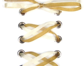 "THE SHOELACES SHOP-Gold & Ivory Organza Ribbon Shoelaces, Gold Shoelaces, Organza Shoelaces, Custom, Ivory Shoelaces, ""The Sidelines"""
