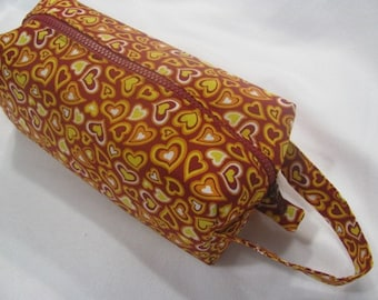 Red and Yellow Hearts Cosmetic Bag Makeup Bag LARGE