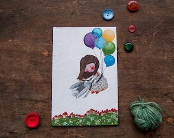 Bambina che vola. Illustrazione originale con patter di palloncini dipinta a mano ad acrilico su cartone telato, OOAK  10 x 15 cm. Folk art