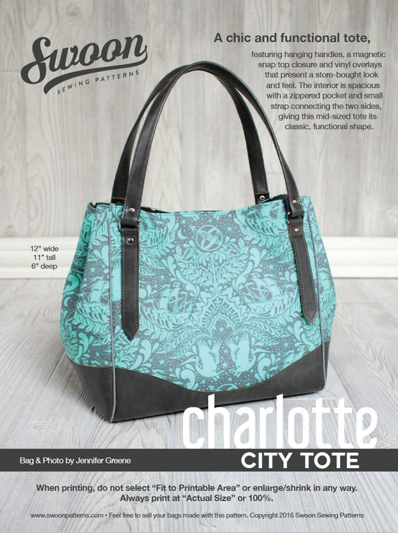Swoon Patterns: Charlotte City Tote - PDF Vintage Purse Tote Handbag ...