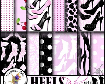 HEELS Pinks set 1 INSTANT DOWNLOAD digital papers for scrapbooking with Heels Victorian Corset Angelica and Jane pumps, heels and boots