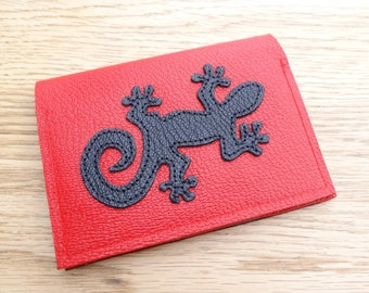 Lizard in black and Red genuine leather card holder