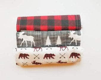 Canadian Themed Burp Cloths- Baby burp cloths , newborn, baby shower gift, moose, deer, buck, antlers, baby boy